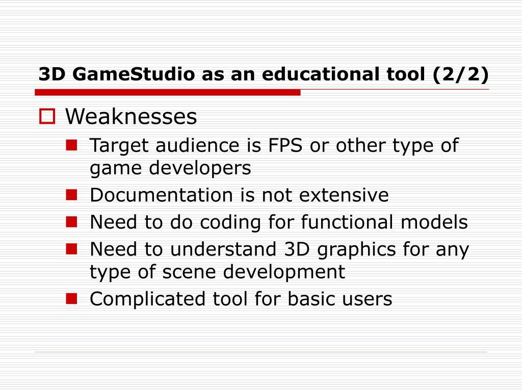 3D GameStudio as an educational tool (2/2)
