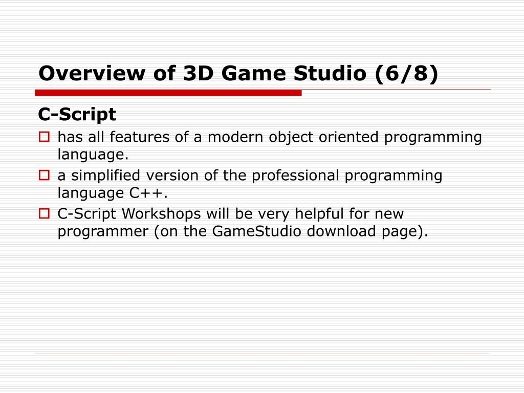 Overview of 3D Game Studio (6/8)