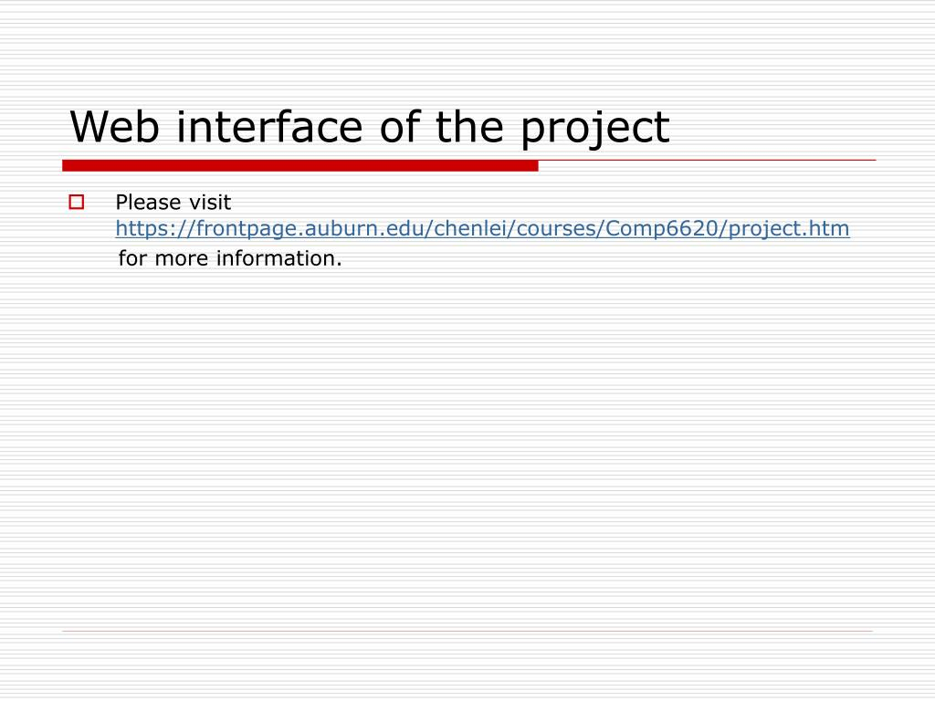 Web interface of the project