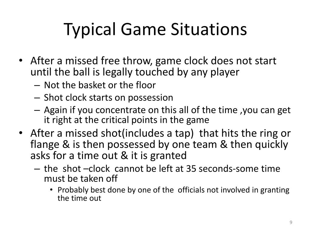 Typical Game Situations