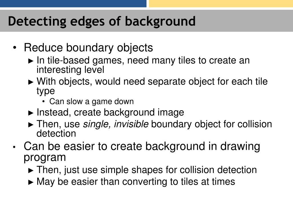 Detecting edges of background