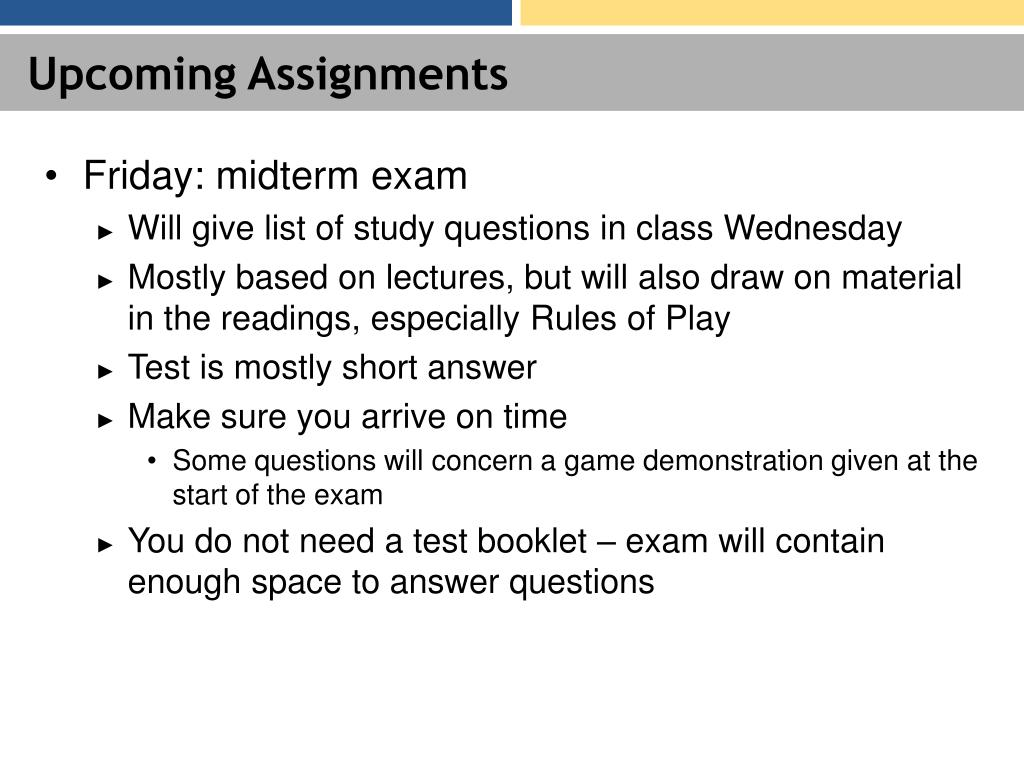 Upcoming Assignments
