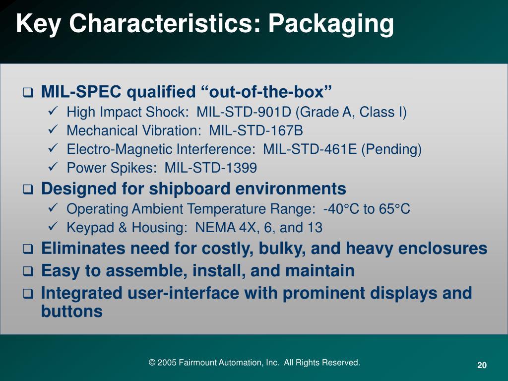 Key Characteristics: Packaging
