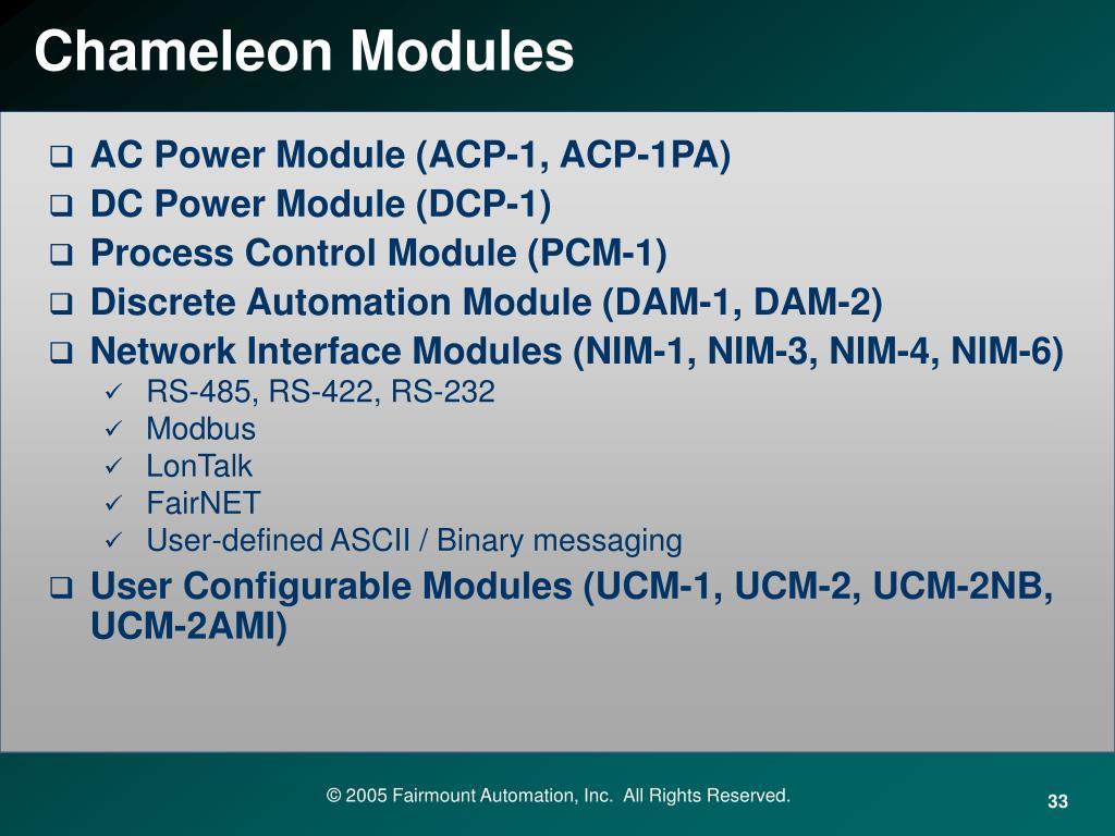 Chameleon Modules