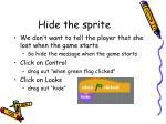 hide the sprite