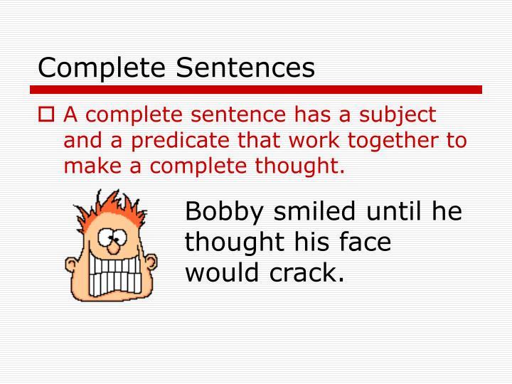 Complete sentences2