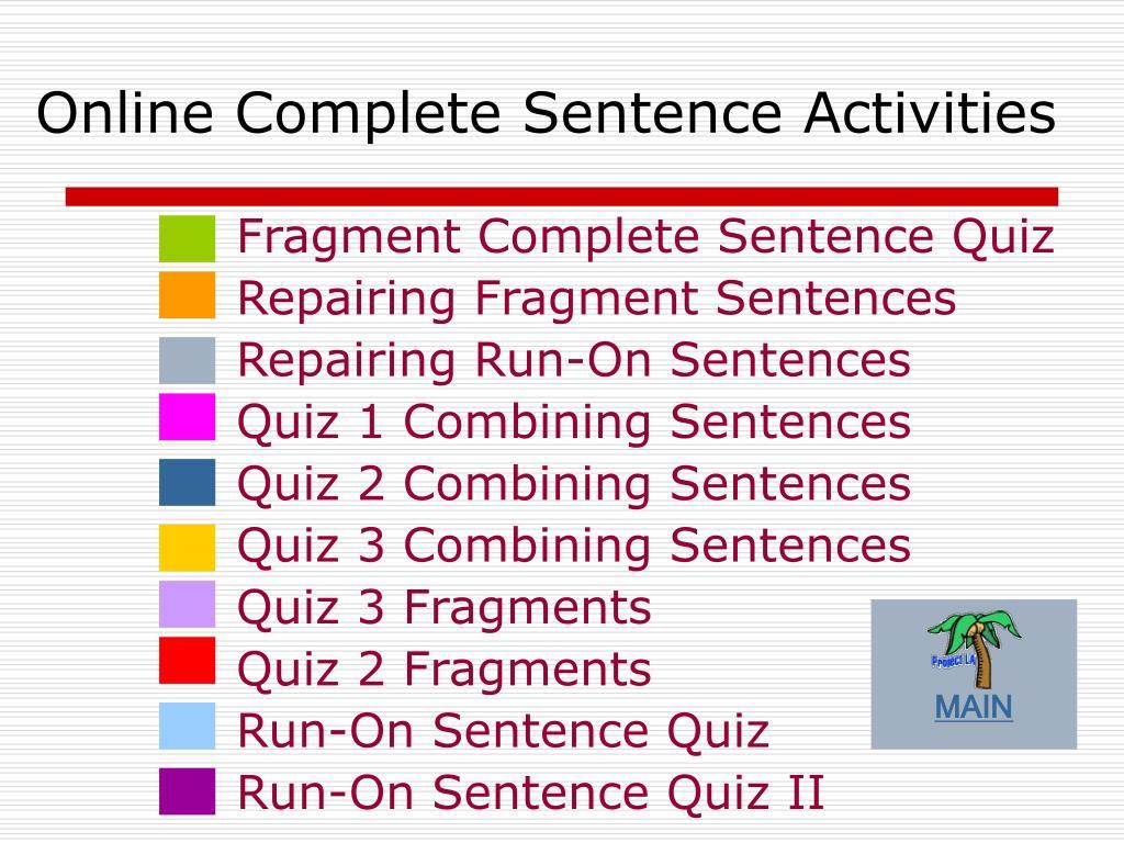 Online Complete Sentence Activities