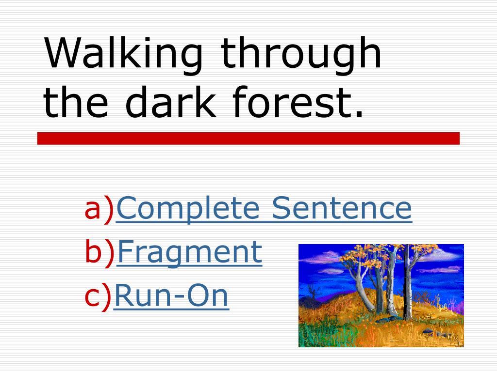 Walking through the dark forest.