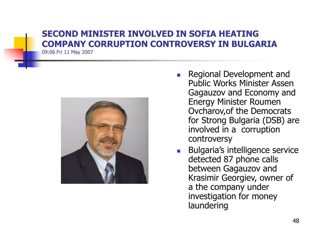 SECOND MINISTER INVOLVED IN SOFIA HEATING COMPANY CORRUPTION CONTROVERSY IN BULGARIA