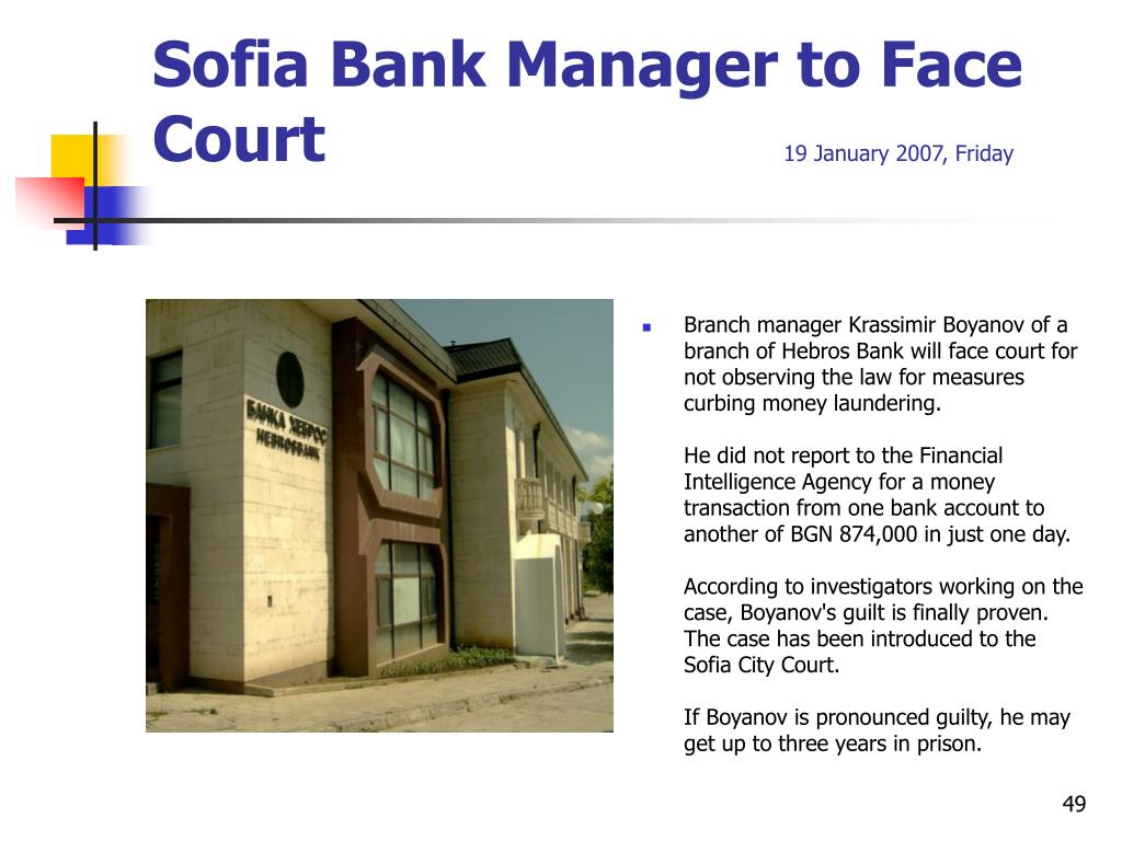 Sofia Bank Manager to Face Court