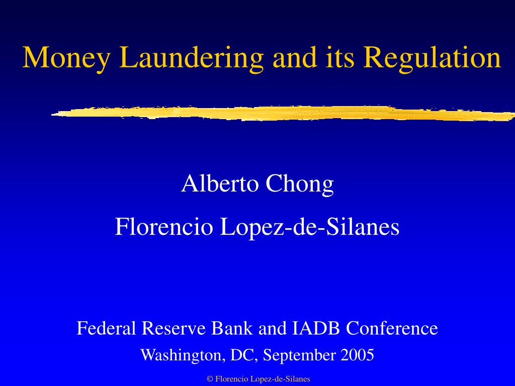 money laundering and its regulation l.