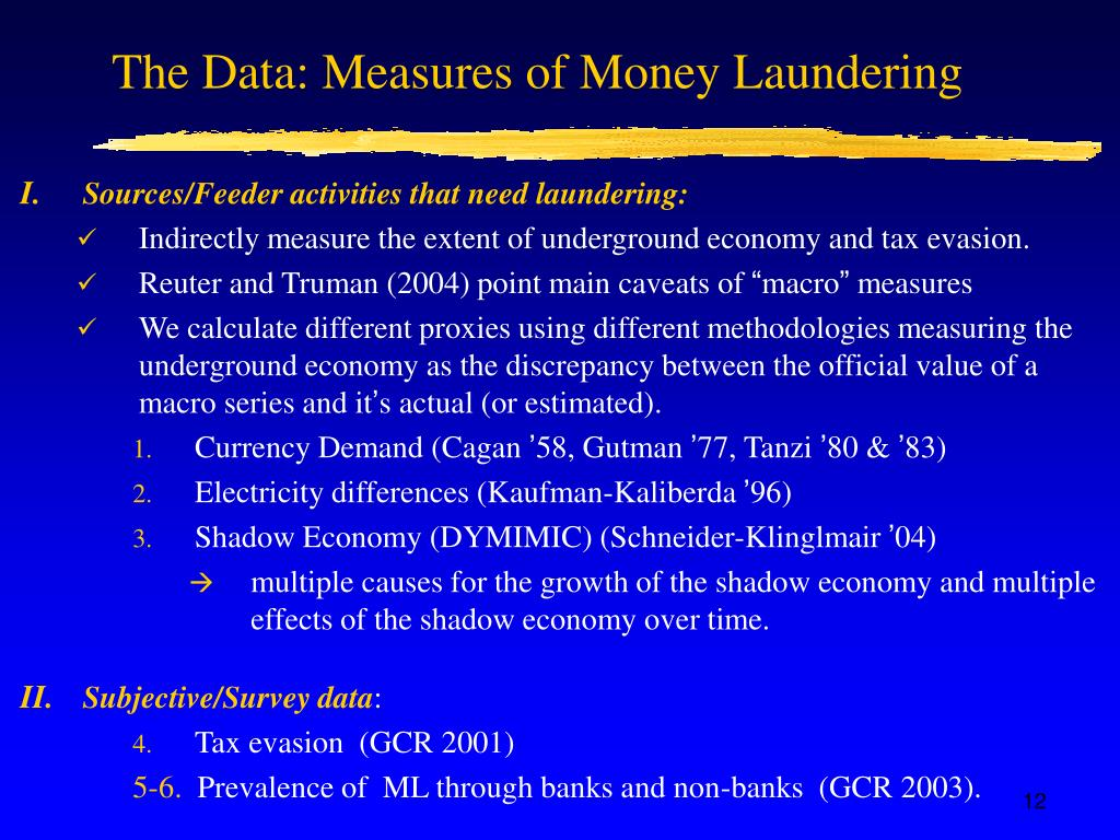 The Data: Measures of Money Laundering