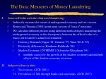 the data measures of money laundering