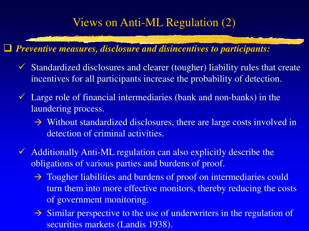 Views on Anti-ML Regulation (2)