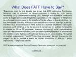 what does fatf have to say