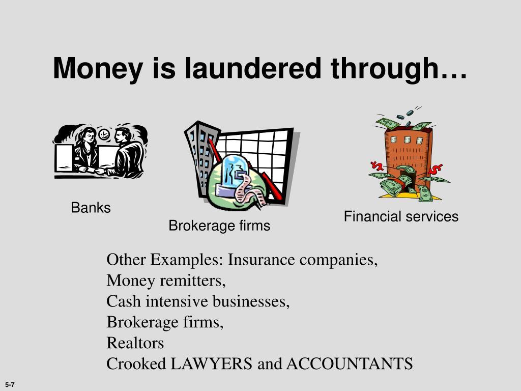 Money is laundered through…