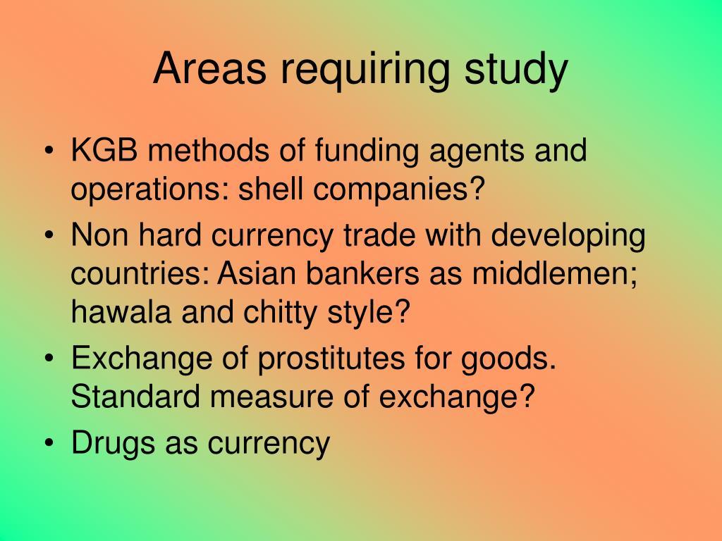 Areas requiring study