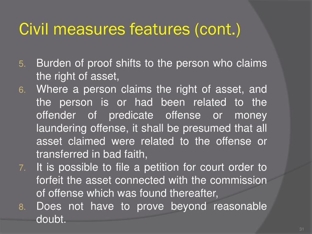 Civil measures features (cont.)