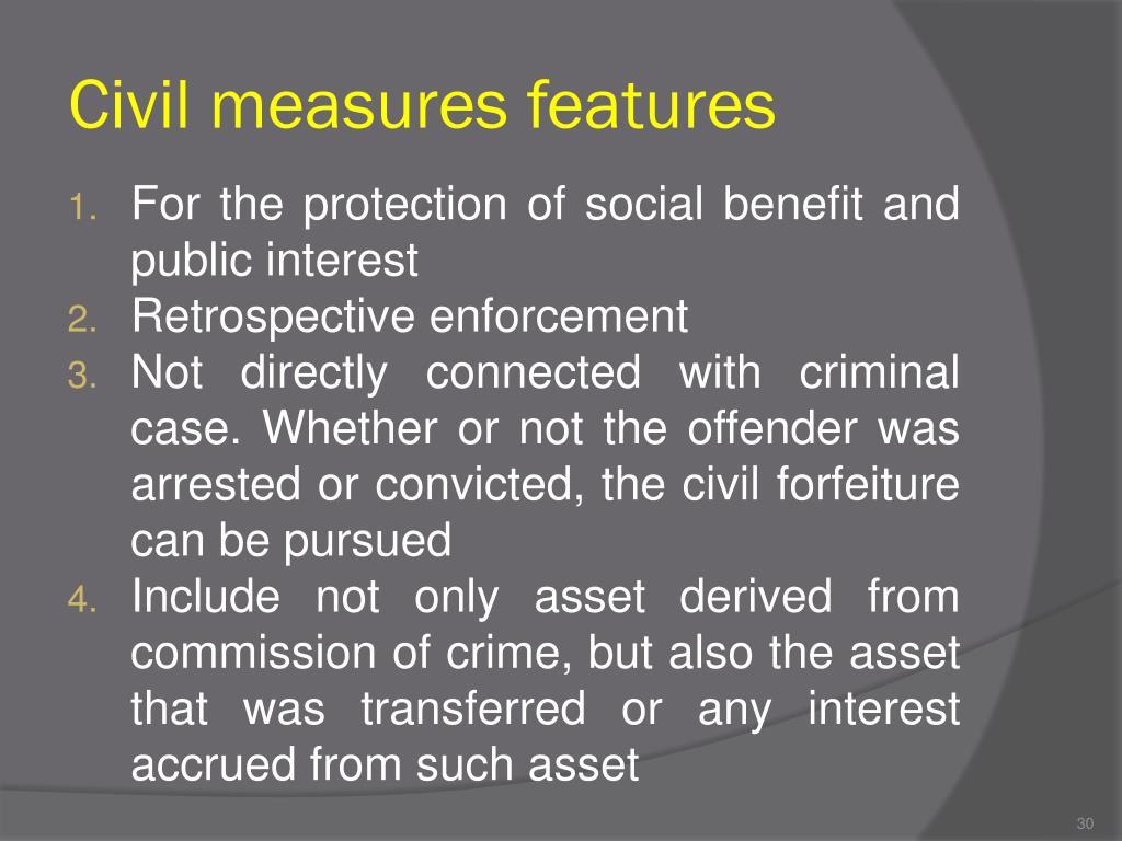 Civil measures features