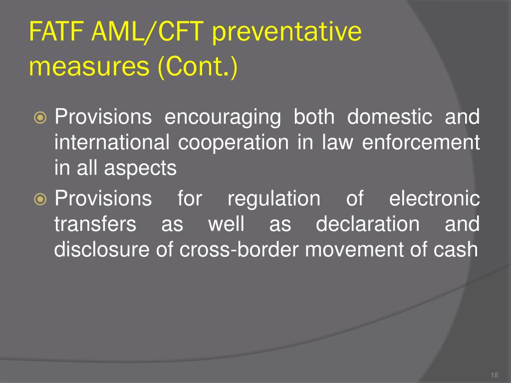 FATF AML/CFT preventative measures (Cont.)