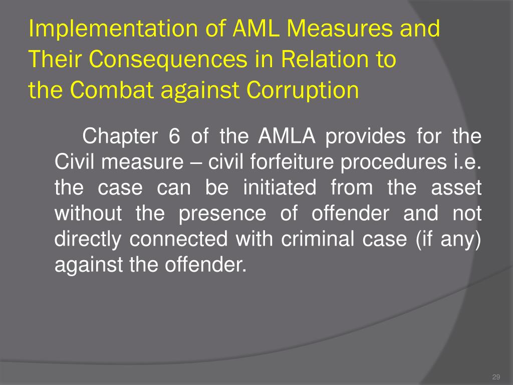 Implementation of AML Measures and