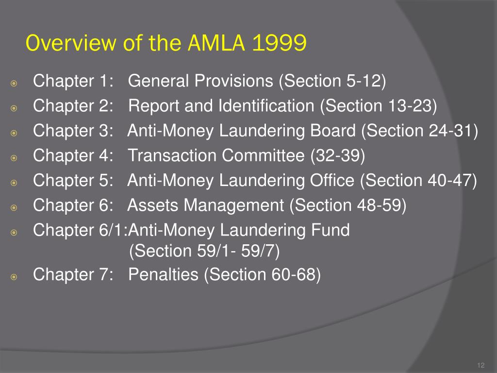 Overview of the AMLA 1999