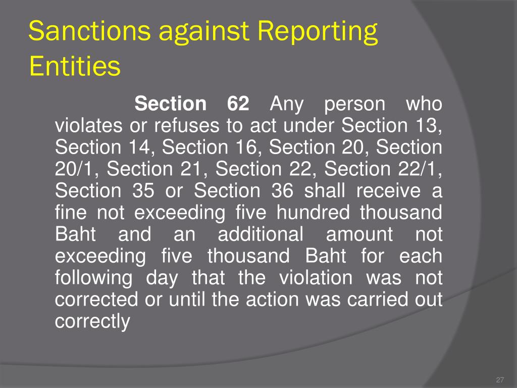 Sanctions against Reporting Entities