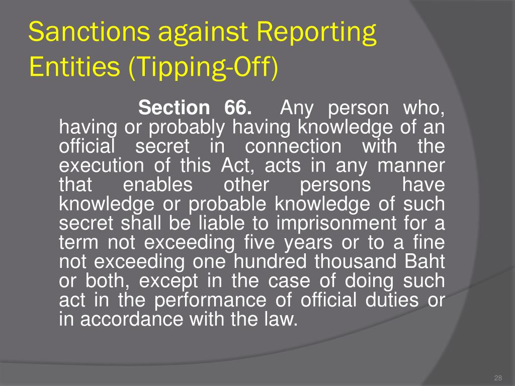 Sanctions against Reporting Entities (Tipping-Off)