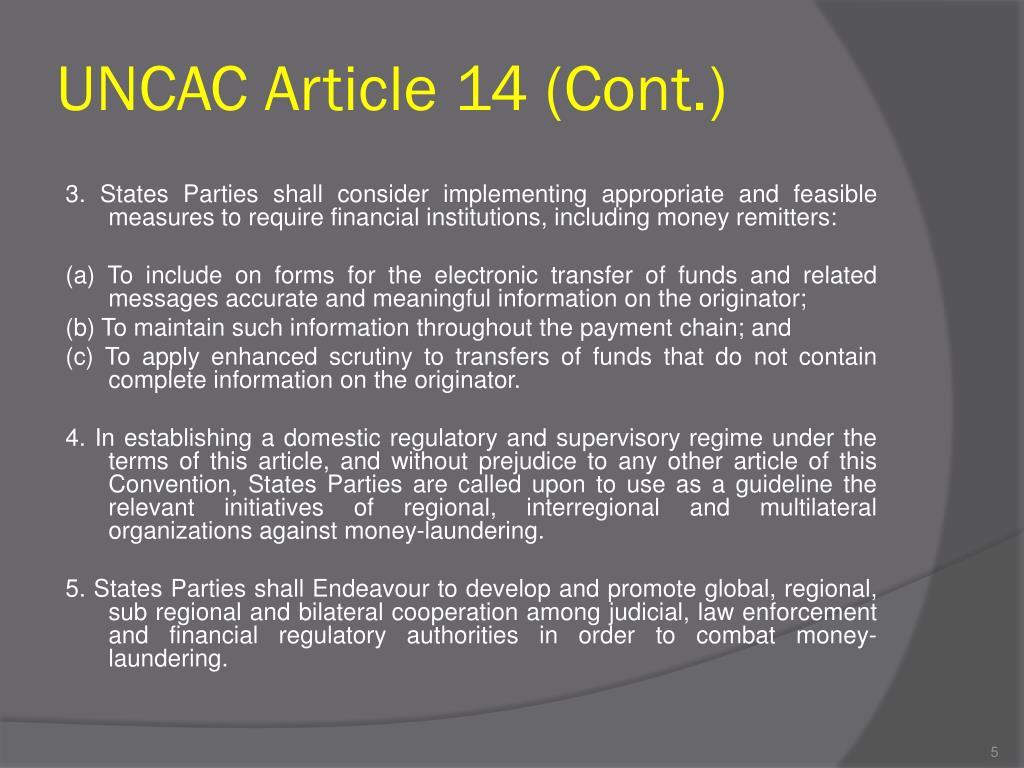 UNCAC Article 14 (Cont.)