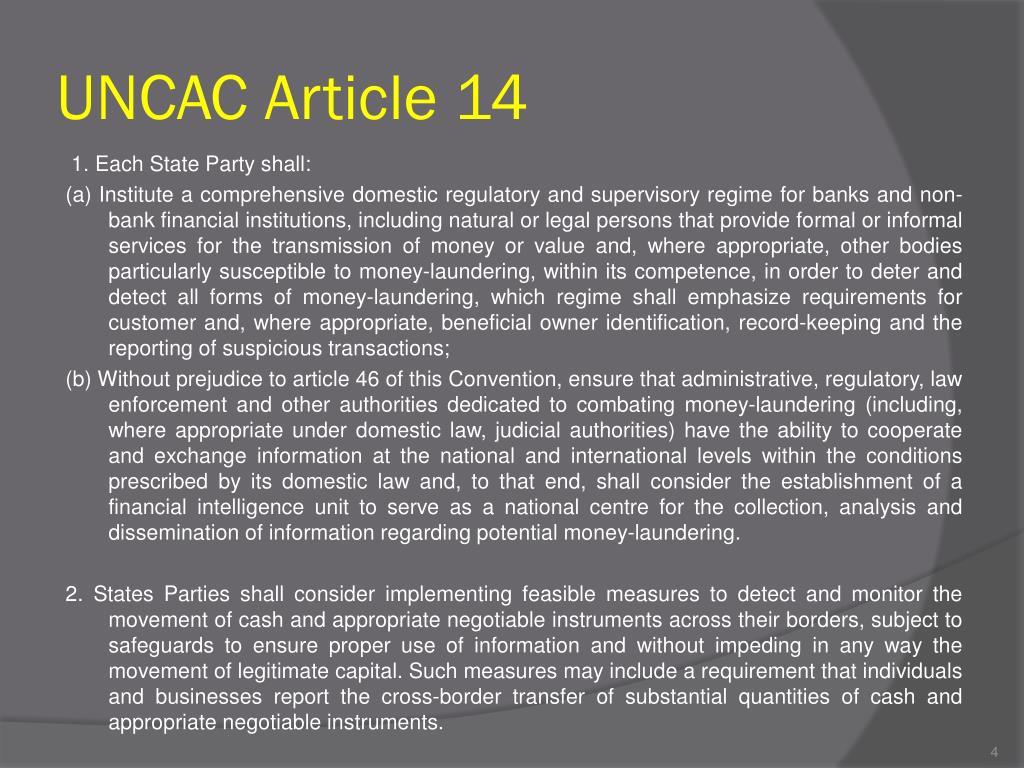 UNCAC Article 14