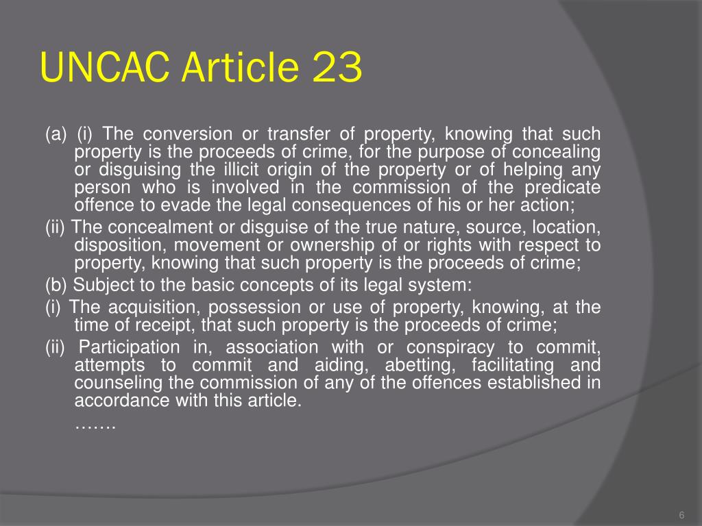 UNCAC Article 23