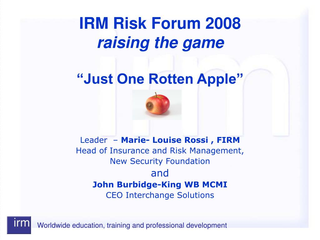 """""""Just One Rotten Apple"""""""