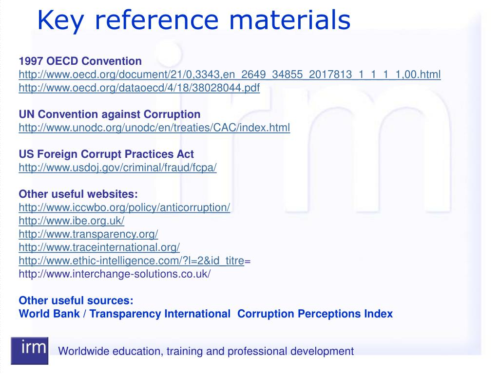 Key reference materials