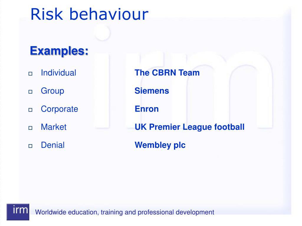 Risk behaviour
