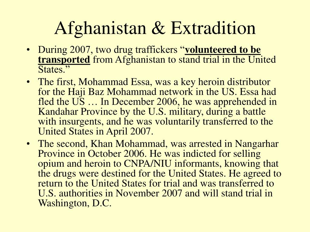 Afghanistan & Extradition