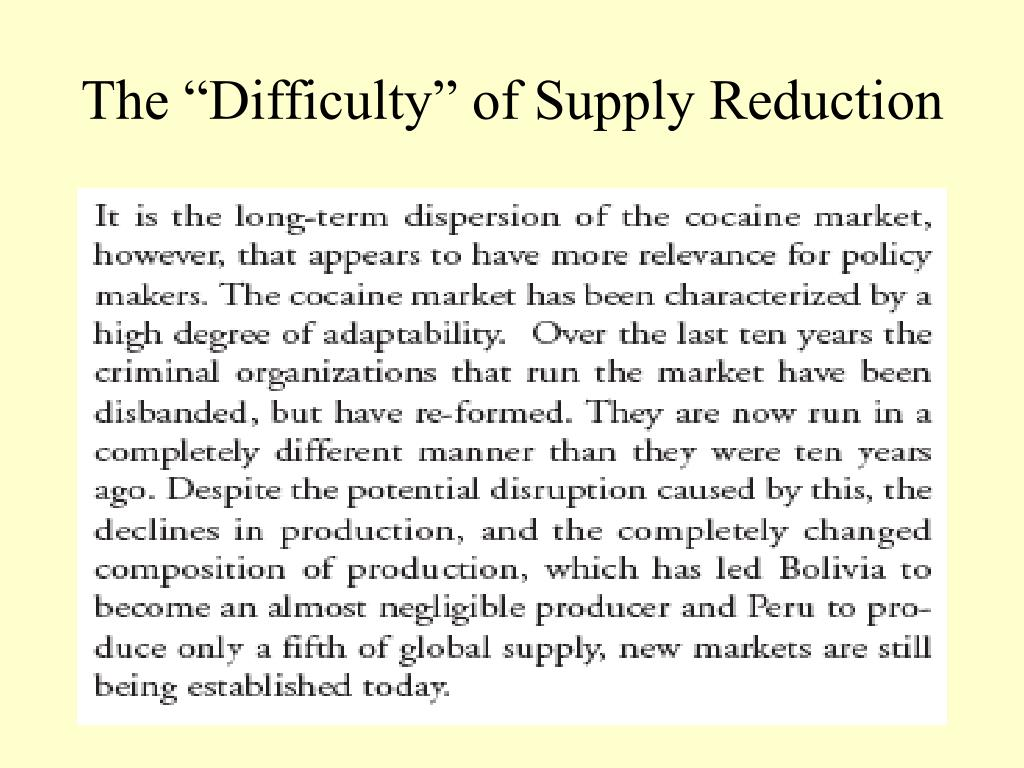"""The """"Difficulty"""" of Supply Reduction"""