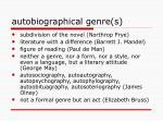 autobiographical genre s