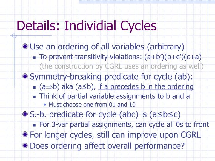 Details: Individial Cycles