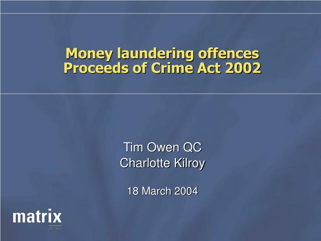 Money laundering offences