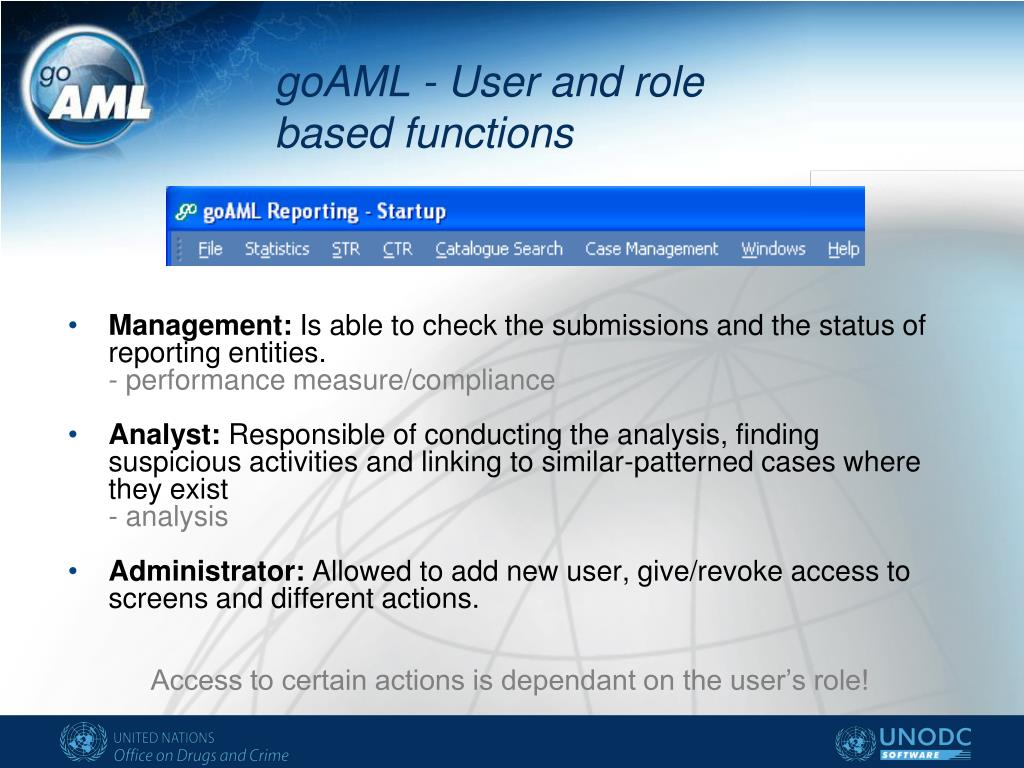 goAML - User and role based functions