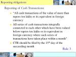 reporting of cash transactions