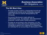 business associates ba obligations cont d