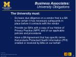 business associates university obligations