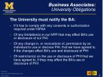 business associates university obligations9