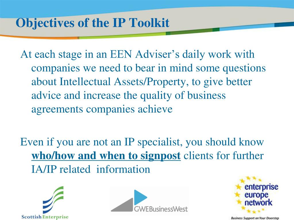 Objectives of the IP Toolkit