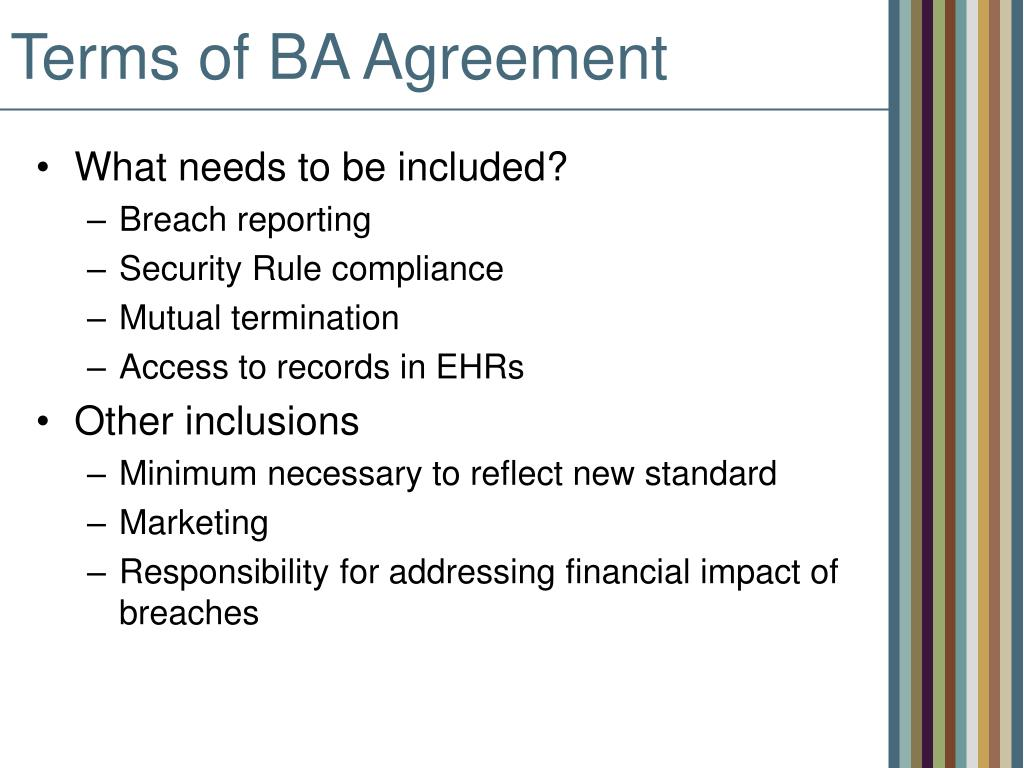 Terms of BA Agreement