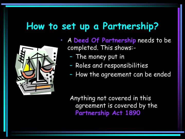How to set up a partnership