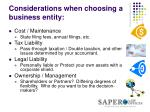 considerations when choosing a business entity