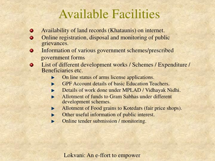 Available Facilities