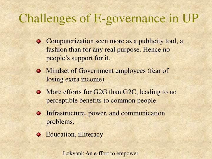 Challenges of E-governance in UP